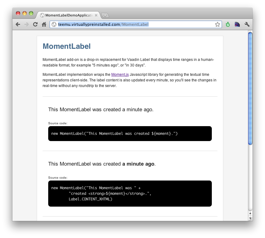 Screenshot of the demo application