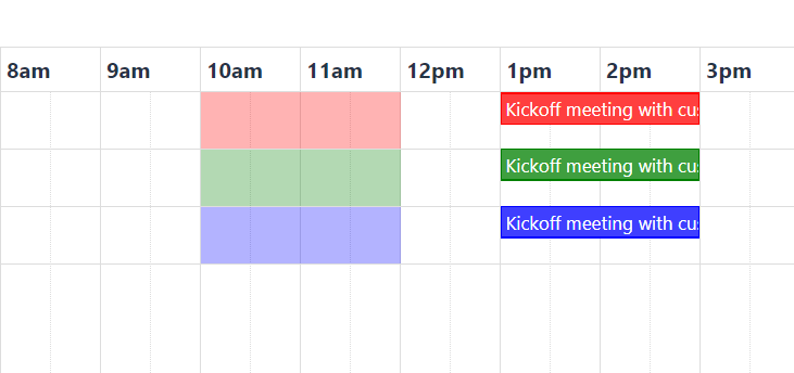Timeline view with background events