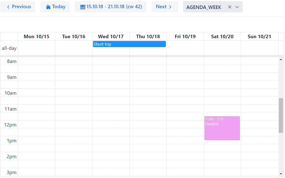 Timegrid weekly view