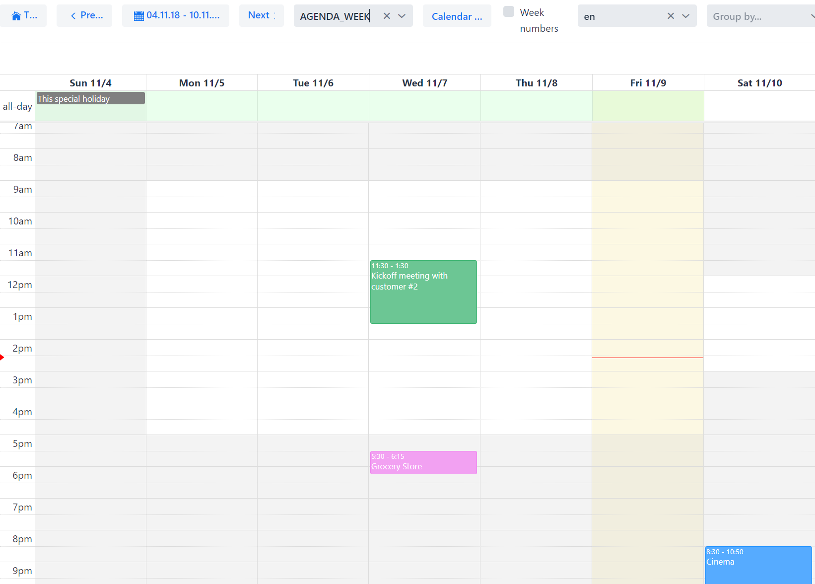 Business hours (timegrid weekly view)