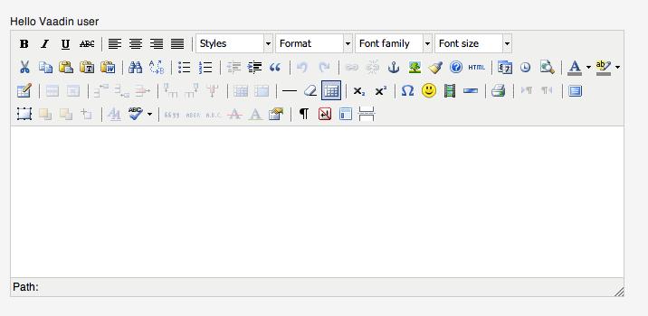 Screenshot of instantiated TinyMCE editor in Vaadin application