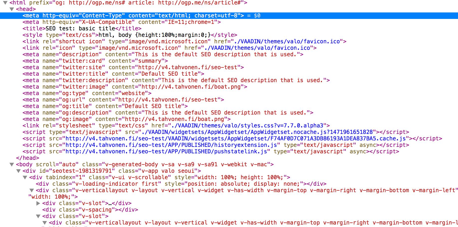 Meta tags generated by Volga