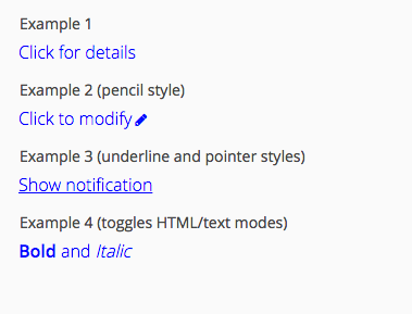 Example labels in clickable state