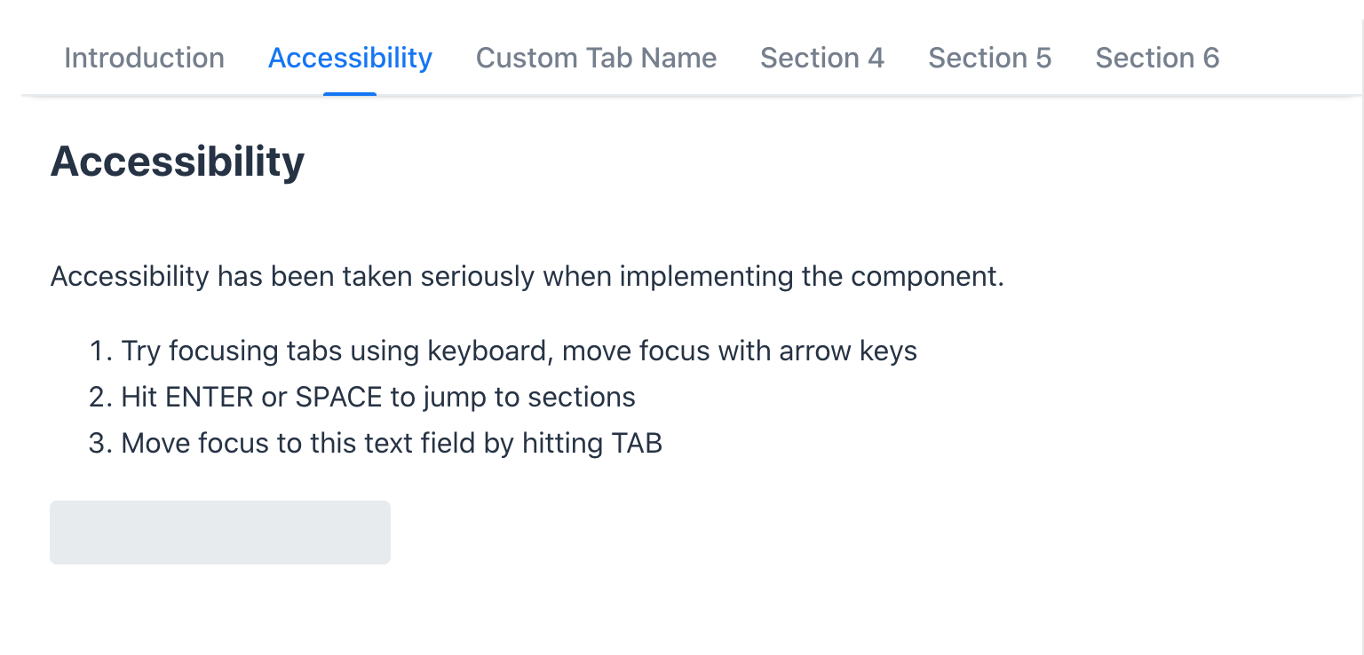 Accessibility section