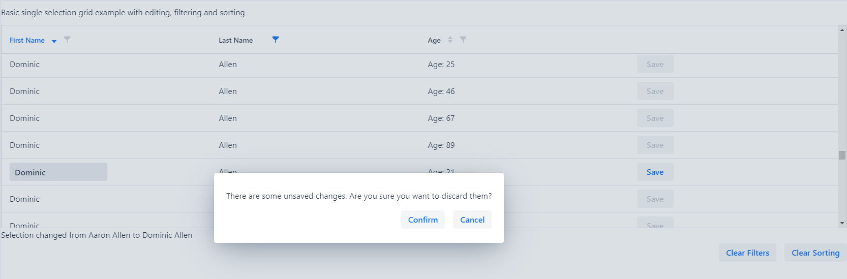 Unsaved changes dialog