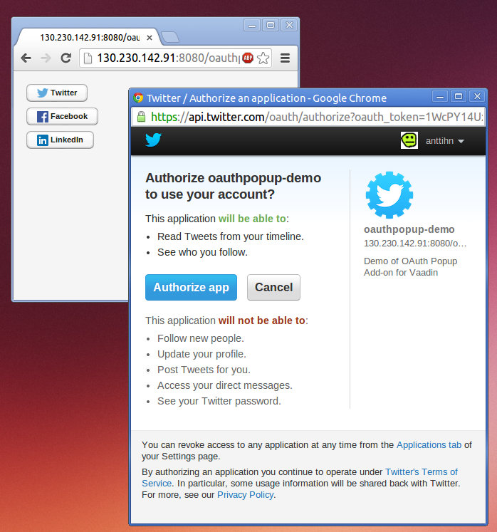 OAuth Popup Twitter Screenshot
