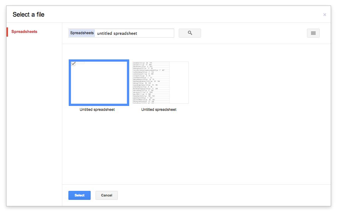Choosing a spreadsheet