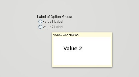 Display tooltip for a value with optional text and optional image.