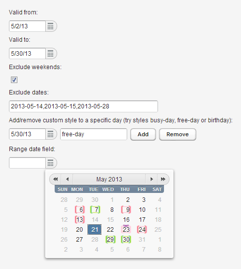 Using custom styles and excluding multiples dates