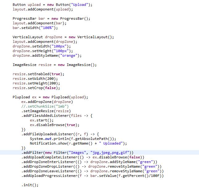 Plupload Vaadin Integration