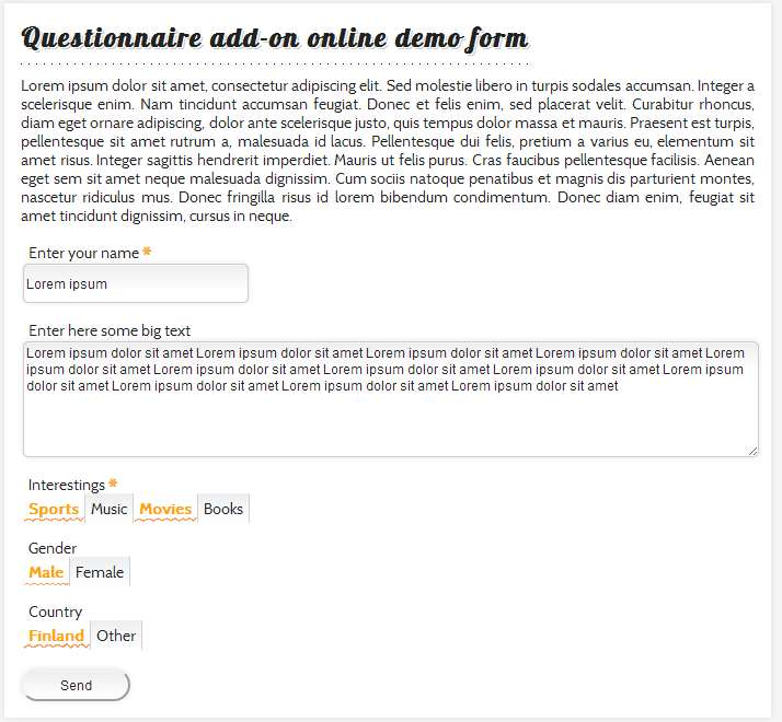 Questionnaire with custom theme