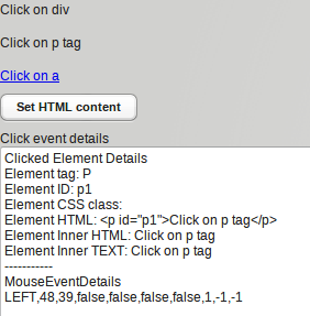 Click on HTML element inside Label widget