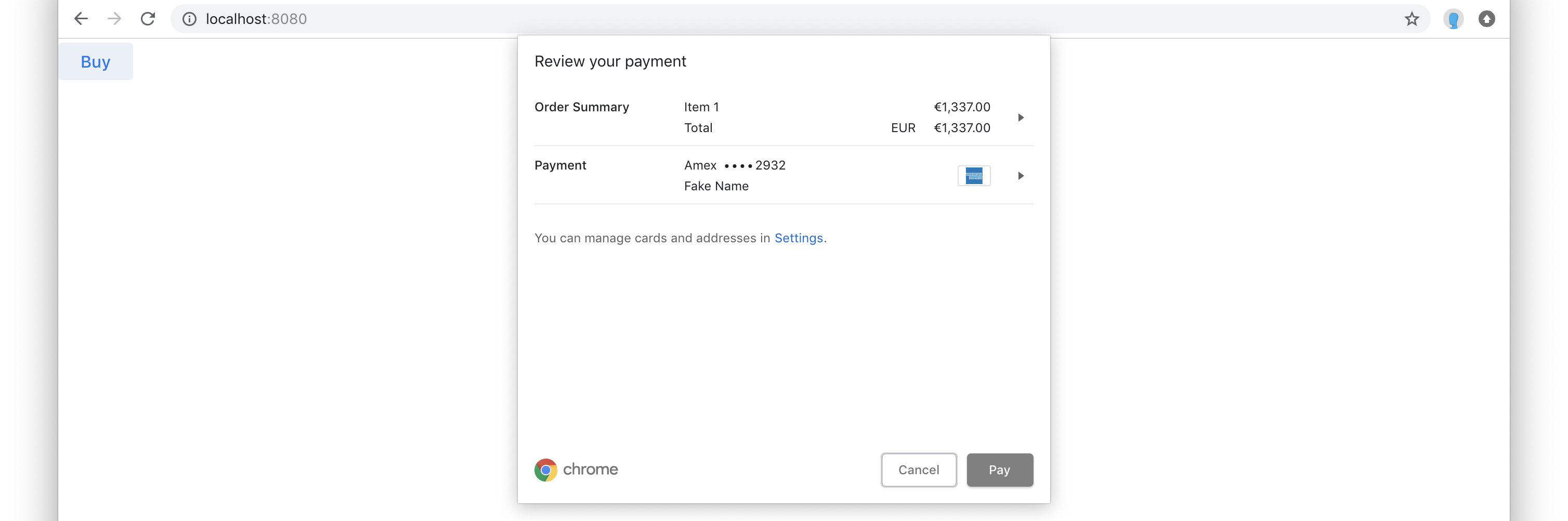 Show payment prompt