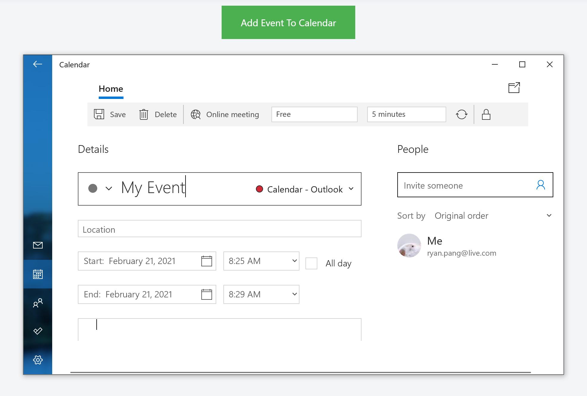 Add Event to Calendar on Windows