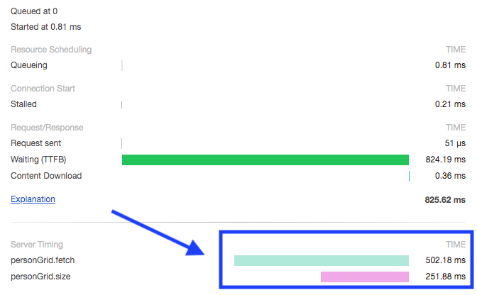 Server timing display in Chrome