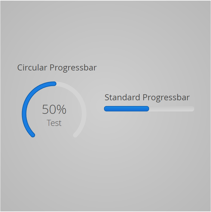 Customized Circular Progressbar - With a scale of 0.75 (rotated via css) and a label