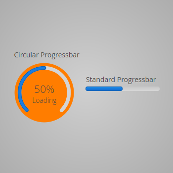 Customized Circular Progressbar - With a scale of 0.75 (rotated via css), label and a background image