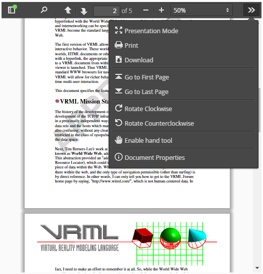 PDF Viewer with side menu open
