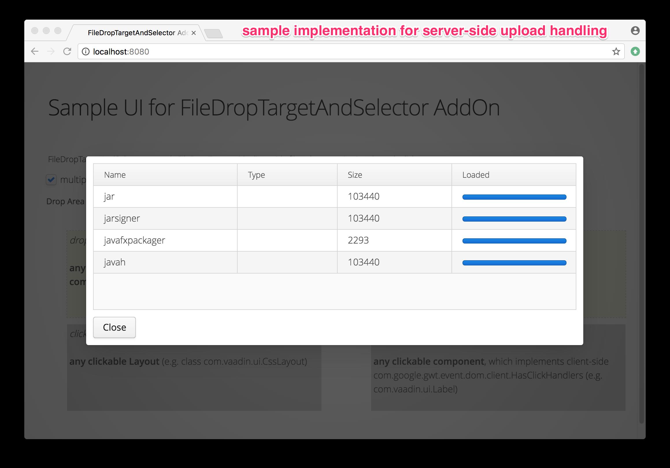Demo implementation for upload handling