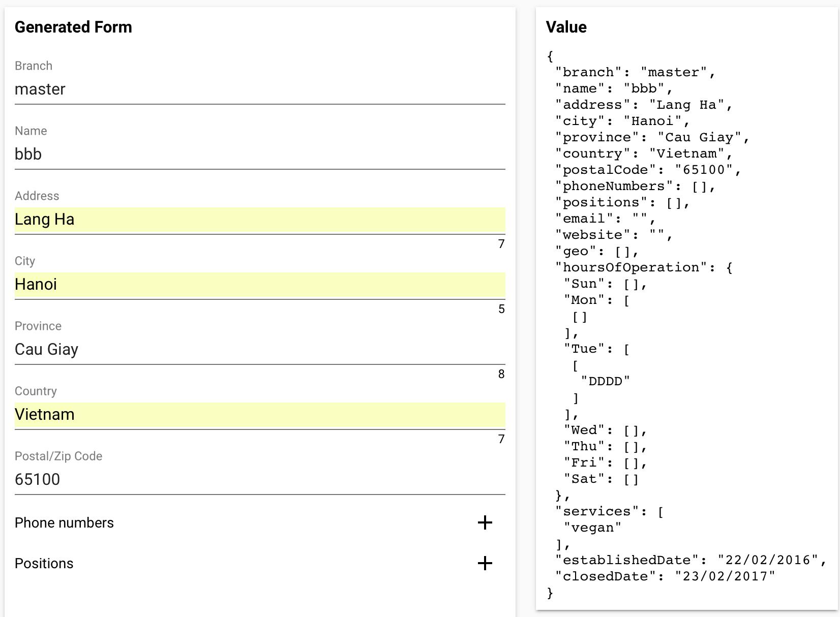 eco-json-schema-form | Vaadin Directory | Vaadin